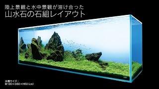getlinkyoutube.com-[ADAview] AJ229連動-180cm水槽レイアウト 山水石石組編