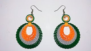 Quilling earring - Indian Flag colors Quilling paper earring making video