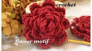getlinkyoutube.com-バラのようなお花モチーフの編み方☆かぎ針編み☆ crochet rose flower motif ☆ 鉤針入門