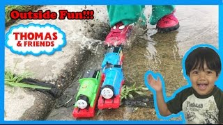 getlinkyoutube.com-Thomas and Friends kid playing outside with Thomas Train toys James Percy Diesel 10 Ryan ToysReview