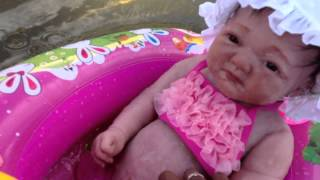 getlinkyoutube.com-Silicone Baby Kaylee swimming at beach