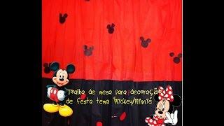 """getlinkyoutube.com-Toalha de mesa para decoração de festa tema """"Mickey/Minnie""""."""