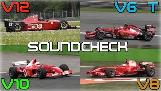 getlinkyoutube.com-One Brand, One Racetrack: Ferrari F1 Engines Soundcheck - 2014 V6 Turbo, V8, V10, V12