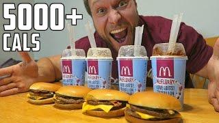 getlinkyoutube.com-McDonald's Burger McFlurry Eating Challenge (5,000+ Calories)