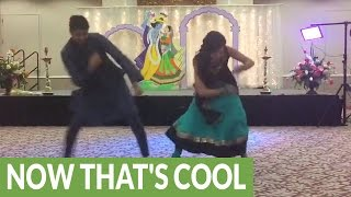 getlinkyoutube.com-Bride and brother pull of epic wedding dance routine