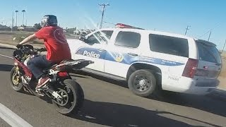 getlinkyoutube.com-STREET BIKE VS POLICE Chase Motorcycle Stunts Riding Wheelies While Chased By Cops 2016