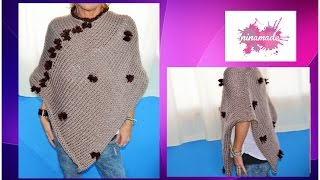 DIY.Comment tricoter un poncho. Très facile!// How to knit a poncho.Very easy!