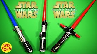 getlinkyoutube.com-Star Wars The Force Awakens 3 Lightsabers Vader, Skywalker, Kylo Ren Unboxing - WD Toys