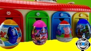 getlinkyoutube.com-Huevos Sorpresa en la estación de TAYO con Patrulla Canina, Super Wings y Rayo McQueen