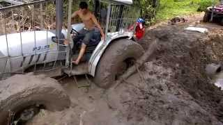 getlinkyoutube.com-Tractor stuck in mud ,How to get unstuck