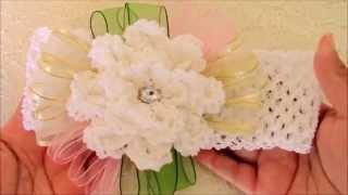 getlinkyoutube.com-DIY  flores a crochet y diademas - flowers to crochet headbands with ribbons