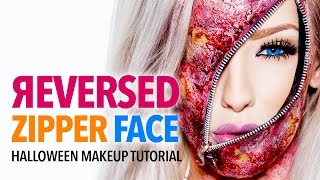 getlinkyoutube.com-Reversed Zipper Face Halloween Makeup Tutorial
