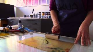 getlinkyoutube.com-Hand-Pulled Monotype Printing with Akua Inks and Pin Press