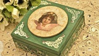 getlinkyoutube.com-Decoupage krok po kroku - kasetka z aniołkiem