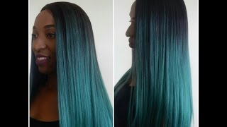 getlinkyoutube.com-Kylie Jenner inspired green/teal ombre lace front wig :Bobbi Boss Lace Front Wig MLF99 YANI