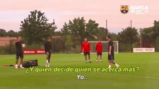 La discusión de Messi y Suarez tras la práctica del Barcelona