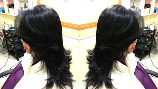 getlinkyoutube.com-Corte cabelo longo degradê em camadas e franja lateral