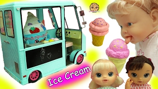getlinkyoutube.com-Babysitting 3 Magical Scoops Baby Alive Babies Eat From Doll Ice Cream Truck