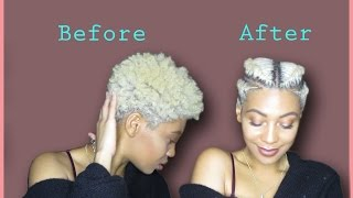 getlinkyoutube.com-NATURAL HAIR: Easy Way To Style A TAPERED TWA| FAUX UNDERCUT | FLAT TWISTS/BRAIDS on 4C Hair |J MAYO