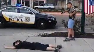 getlinkyoutube.com-전직 경찰, 칼을 가진 남자를 진압