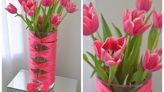 DIY Corset Vase with Cut Tulips