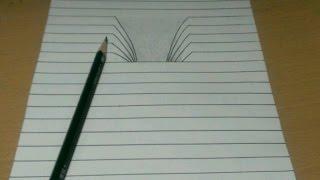 getlinkyoutube.com-【トリックアート】ノートに穴が開いたように見える イタズラ 3D Trick Art on Paper, Drawing 3D Hole