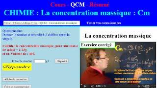getlinkyoutube.com-Concentration massique : calcul, exercice corrigé et qcm