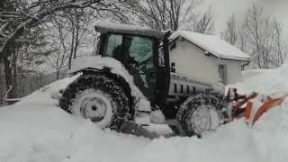 getlinkyoutube.com-Lamborghini tractor plowing snow and stuck in it