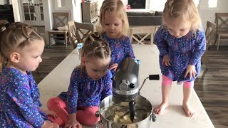 QUADRUPLETS BAKING TREATS AND OUR BACK YARD IS GETTING DONE!