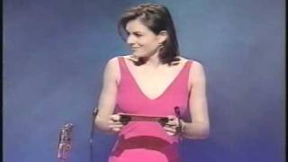 getlinkyoutube.com-Bra-less Liz Hurley befuddles Billy Connolly at the BAFTAs!
