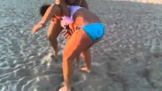 Chica & Sasha Wrestling at Ocean Beach!