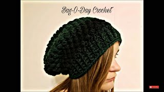 getlinkyoutube.com-CROCHET How To #Crochet Ladies or Mens Unisex Puffed Slouchy Hat Beanie TUTORIAL #357 LEARN CROCHET