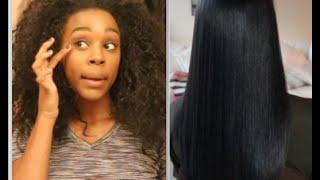 getlinkyoutube.com-Straightening 3a/3b Hair without HEAT DAMAGE