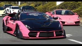 getlinkyoutube.com-フル加速しながら出撃!! 大黒PAからツーリングに出発するスーパーカー集団 [HD] Amazing sound Ferrari & Lamborghinis!!