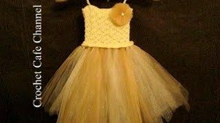 كروشيه فستان مع التل Tutu dress | كروشيه كافيه|Crochet Cafe