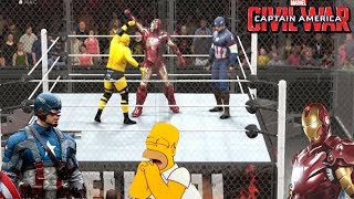 CIVIL WAR: Capitan America VS IronMan VS Homero simpson - (WWE World Heavyweight Championship)