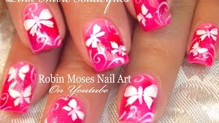 getlinkyoutube.com-Cute Neon Pink Butterfly Nails | White Butterfles Nail Art Design Tutorial