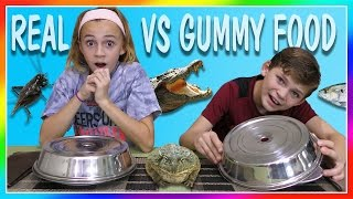 DISGUSTING REAL FOOD VS GUMMY FOOD SWITCH UP CHALLENGE   We Are The Davises