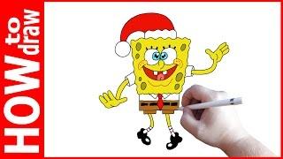 getlinkyoutube.com-How to draw Spongebob squarepants christmas, Как нарисовать Спанч Боба