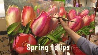 getlinkyoutube.com-Spring Tulips. Workshop with two canvas.Workshop  in English from Oleg Buiko. Oil painting.