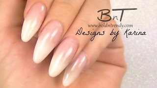 getlinkyoutube.com-French Fade / Ombre French / Baby Boomer Almond Acrylic Nails - Three Color Fade (E059)