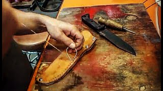 HOW TO make a SIMPLE LEATHER SHEATH for BECKER BK7 KNIFE