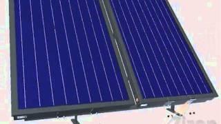 Zonneboiler - platdak met vlakke zonnecollectoren