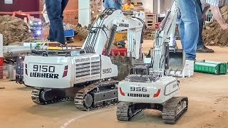 getlinkyoutube.com-RC excavator MONSTER! Liebherr 9150 R/C digger at the construction site