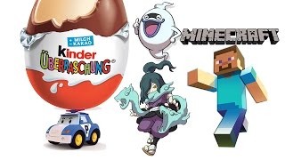 getlinkyoutube.com-Minecraft Mini Figure TAYO TOBOT Roboca Poli Kinder Surprise Eggs YO-KAI WATCH Toy Unboxing Review