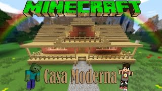 getlinkyoutube.com-Minecraft-Casa Moderna De Madera /Facil / Tutorial 1.8.8