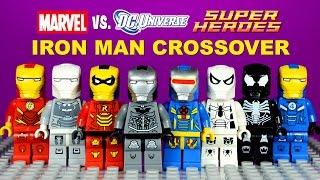 getlinkyoutube.com-LEGO Iron Man DC vs Marvel Crossover Armory KnockOff Minifigures Batman Spider-Man Set 1