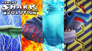 getlinkyoutube.com-Hungry Shark Evolution - All Level 10 Special Sharks Montage