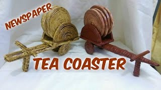 getlinkyoutube.com-How to make newspaper Tea Coaster  Bullock  cart(1)