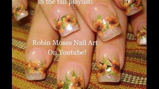 getlinkyoutube.com-Easy Fall Nail Art   Autumn Flower Nails Design Tutorial